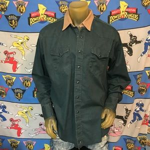Vintage Wrangler Faded Western Snap Shirt Size XL